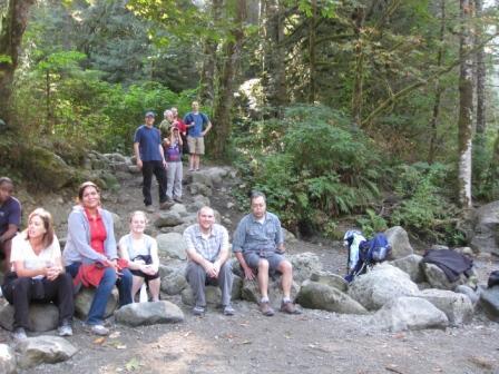 group on rocks