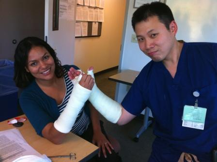 Drs. Maragh and Lee showing off their casting art