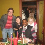 VFM Residents at 2013 Christmas gathering (serious shot), L to R: Ryan Cuny, Angela Zhang, Telly Russell, Jennifer Pense