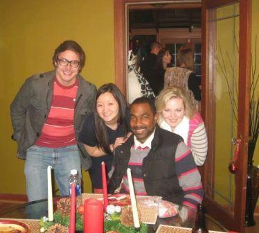 VFM Residents at 2013 Christmas gathering (serious shot), L to R: Ryan Cuny, Angela Zhang, Telly Russell, Jennifer Pense