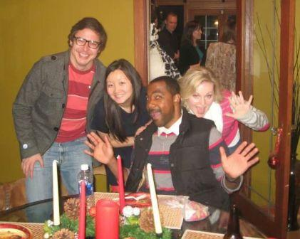VFM Residents at 2013 Christmas gathering (silly shot): L to R: Ryan Cuny, Angela Zhang, Telly Russell, Jennifer Pense
