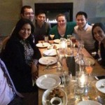 Class of 2014 having dinner, L to R: Telly Russell, Leticia Maragh, Adam Stephenson, Johnny Shum, Jennifer Pense, James Lee, Eli Moreno, Kristin Parker