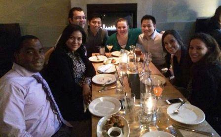 Class of 2014 having dinner, L to R: Telly Russell, Leticia Maragh, Adam Stephenson, Johnny Shum, Jennifer Pense, James Lee, Eli Moreno, Kristin Parker