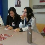 VFM Faculty, Dr. Drew Fillipo (far right) teaching interns about pediatric meds. Interns, L to R: Kate Uvelli, Angela Zhang, Leanne Jones