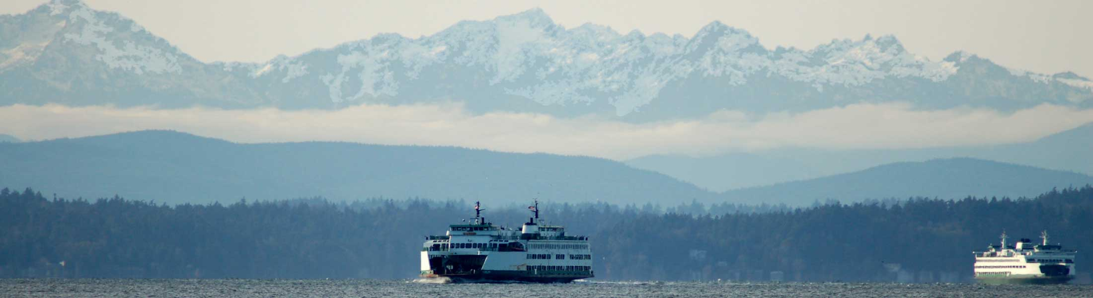 Puget Sound ferry and Olympic mountains
